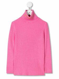 Emilio Pucci Junior turtleneck ribbed knit jumper - PINK