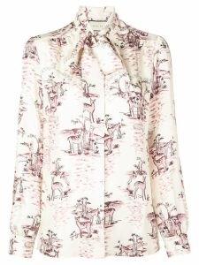 Gucci deer print pussy bow blouse - White