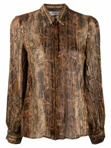 LIU JO snake print pleated blouse - NEUTRALS