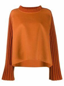 Fabiana Filippi long-sleeve flared sweater - ORANGE