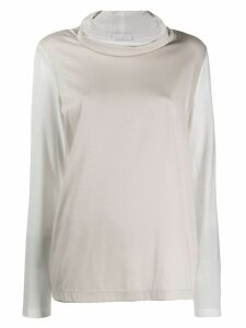 Fabiana Filippi two-tone top - NEUTRALS