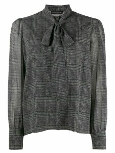 Fabiana Filippi neck tie plaid blouse - Black