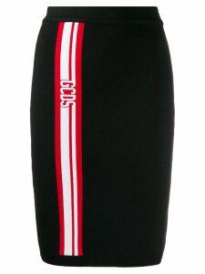 Gcds fitted logo stripe skirt - Black