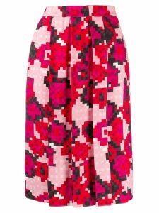 Marni pixel print pleated skirt - PINK