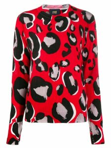 Cavalli Class leopard crew-neck jumper - Red