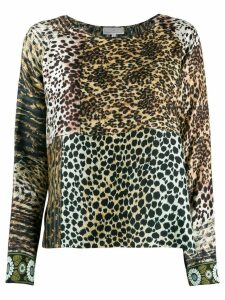 Pierre-Louis Mascia animal print mix top - Brown