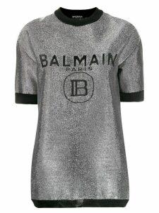 Balmain logo print metallic T-shirt - SILVER
