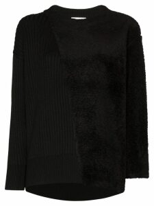 Hyke Commando shearling-panel sweater - Black