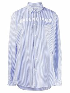 Balenciaga logo detail striped shirt - Blue