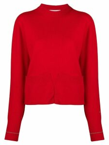 Victoria Beckham pocket detail crew neck jumper - Red