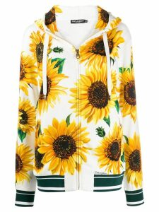 Dolce & Gabbana sunflower-print zipped hoodie - White