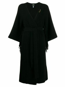 Cavalli Class fringe-trimmed long cardigan - Black
