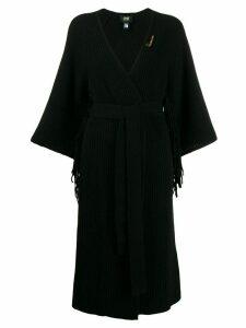 Cavalli Class fringe-trimmed long cardigan - Black