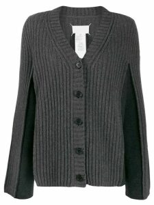 Maison Margiela contrast panel ribbed cardigan - Grey