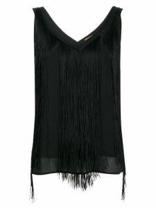LIU JO fringed v-neck top - Black