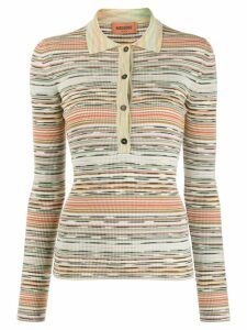 Missoni stripe patterned knitted polo shirt - NEUTRALS