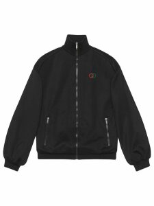 Gucci elbow pad embroidered logo jacket - Black