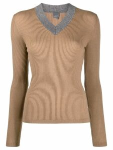 Lorena Antoniazzi glittered v-neck jumper - Brown