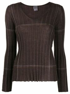 Lorena Antoniazzi ribbed v-neck jumper - Brown