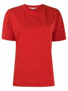 Stella McCartney perforated monogram T-shirt - Red