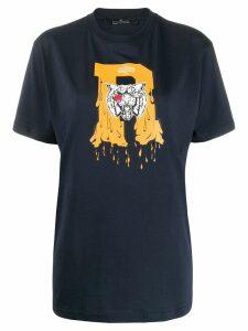 Rokh tiger logo print T-shirt - Blue