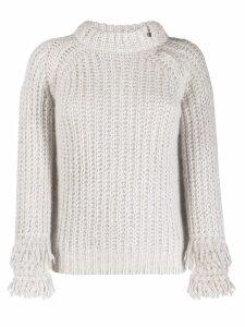 D.Exterior open knit fringed jumper - NEUTRALS
