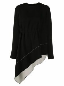 Proenza Schouler Asymmetrical Draped Long Sleeve Top - Black