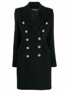 Balmain embossed buttons coat - Black