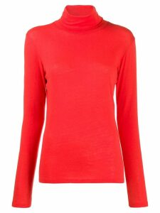 Majestic Filatures roll neck top - ORANGE