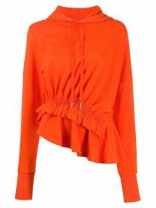 Preen Line Ally ruffle-trim hoodie - ORANGE