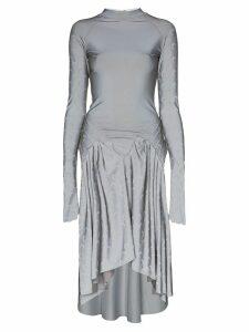 Marine Serre moon print dipped-hem dress - SILVER