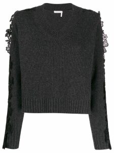 See By Chloé floral lace panel sweater - Grey