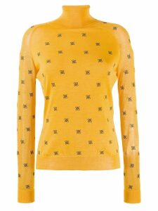 Fendi roll neck logo sweater - Yellow