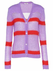 Miu Miu striped open knit cardigan - Purple