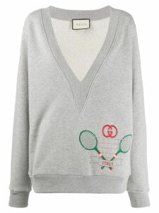 Gucci plunge neck tennis sweatshirt - Grey