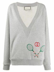 Gucci plunge neck tennis sweatshirt - Grey