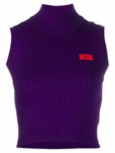 Gcds ribbed knit logo top - PURPLE