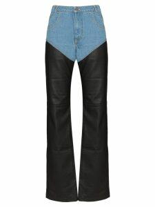Telfar high-waisted denim and leather trousers - Black