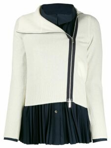 Sacai zipped fitted cardigan - White