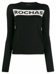 Rochas logo print fine knit jumper - Black
