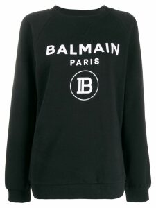 Balmain flocked logo sweatshirt - Black