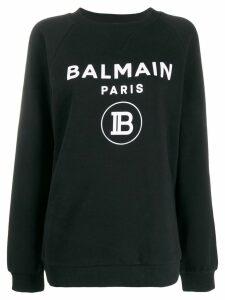 Balmain flocked logo sweatshirt - Black