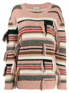 Maison Flaneur fringed striped jumper - PINK