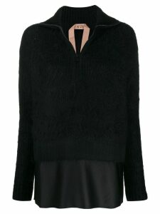 Nº21 layered-hem sweater - Black