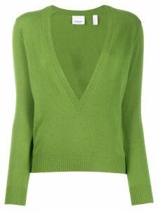 Burberry deep v-neck jumper - Green