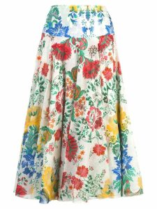 Samantha Sung Aster floral print skirt - White
