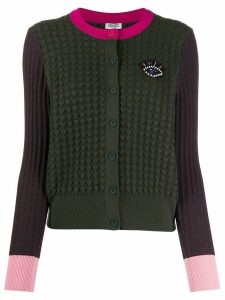 Kenzo embroidered Eye colour-block cardigan - Green