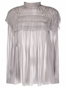 Alberta Ferretti embroidered chiffon blouse - Grey