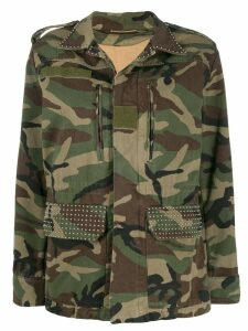 Saint Laurent Parka gabardine camouflage jacket - Green