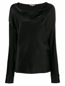 Gold Hawk draped neck blouse top - Black
